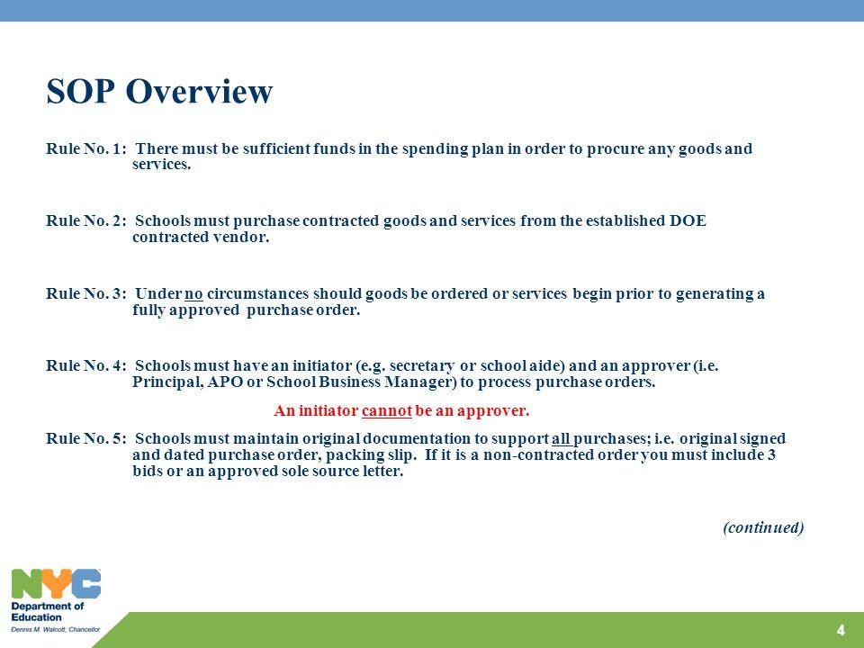 SOP Overview Rule No.