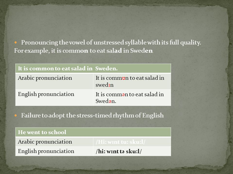 Pronouncing the vowel of unstressed syllable with its full quality.