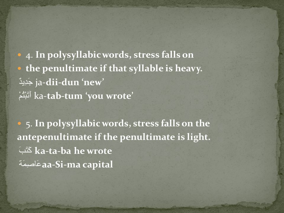 4. In polysyllabic words, stress falls on the penultimate if that syllable is heavy.