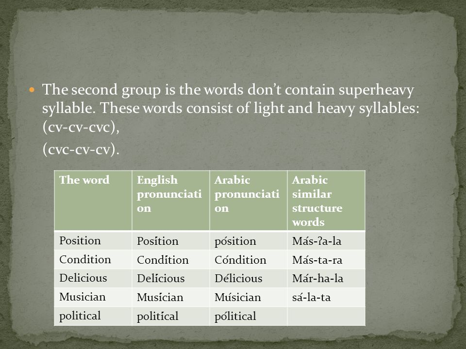 The second group is the words don't contain superheavy syllable.