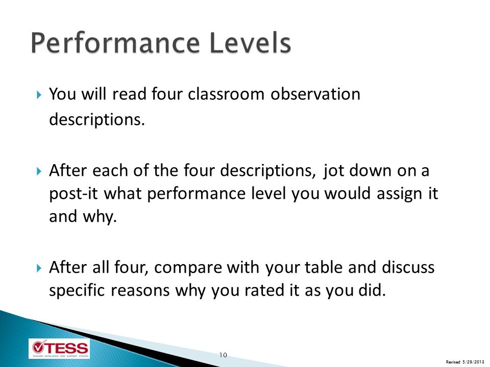Revised 5/29/2013  You will read four classroom observation descriptions.