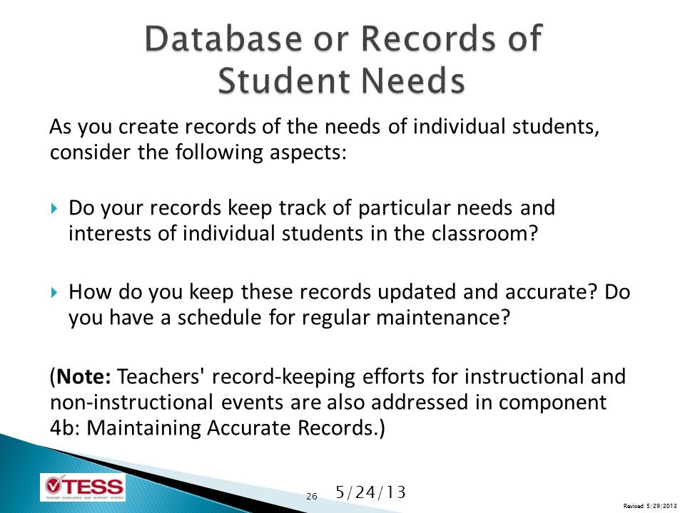 Revised 5/29/2013 As you create records of the needs of individual students, consider the following aspects:  Do your records keep track of particular needs and interests of individual students in the classroom.
