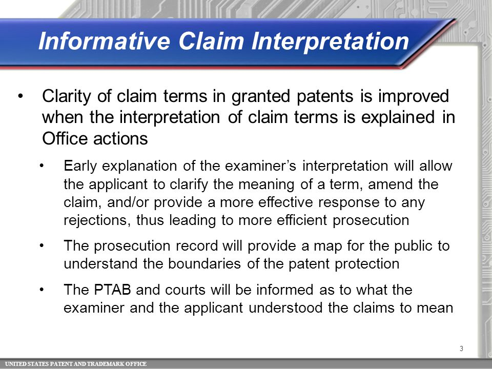 UNITED STATES PATENT AND TRADEMARK OFFICE 4 Broadest Reasonable Interpretation (BRI) is always used to interpret claims under examination 112(f) places a limit on how broadly a 112(f) claim limitation may be interpreted The corresponding structure/materials/ acts disclosed in the specification must be considered in determining the BRI of a 112(f) claim limitation Broadest Reasonable Interpretation