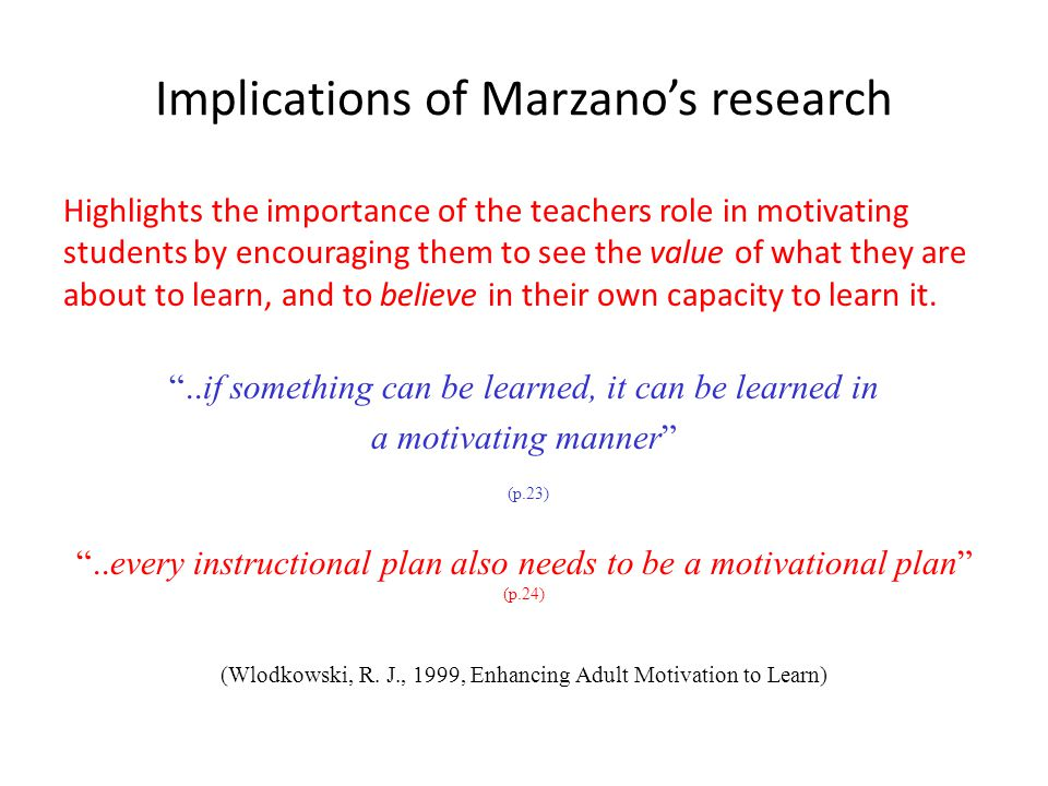 Implications of Marzano's research Highlights the importance of the teachers role in motivating students by encouraging them to see the value of what they are about to learn, and to believe in their own capacity to learn it.