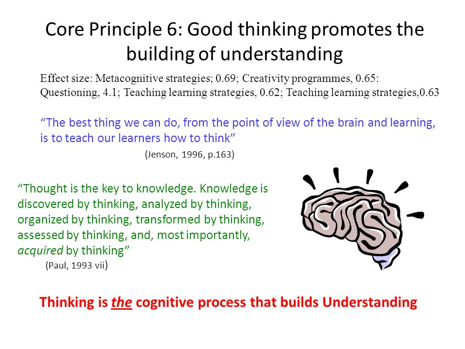 Core Principle 6: Good thinking promotes the building of understanding Effect size: Metacognitive strategies; 0.69; Creativity programmes, 0.65: Questioning, 4.1; Teaching learning strategies, 0.62; Teaching learning strategies,0.63 The best thing we can do, from the point of view of the brain and learning, is to teach our learners how to think (Jenson, 1996, p.163) Thought is the key to knowledge.