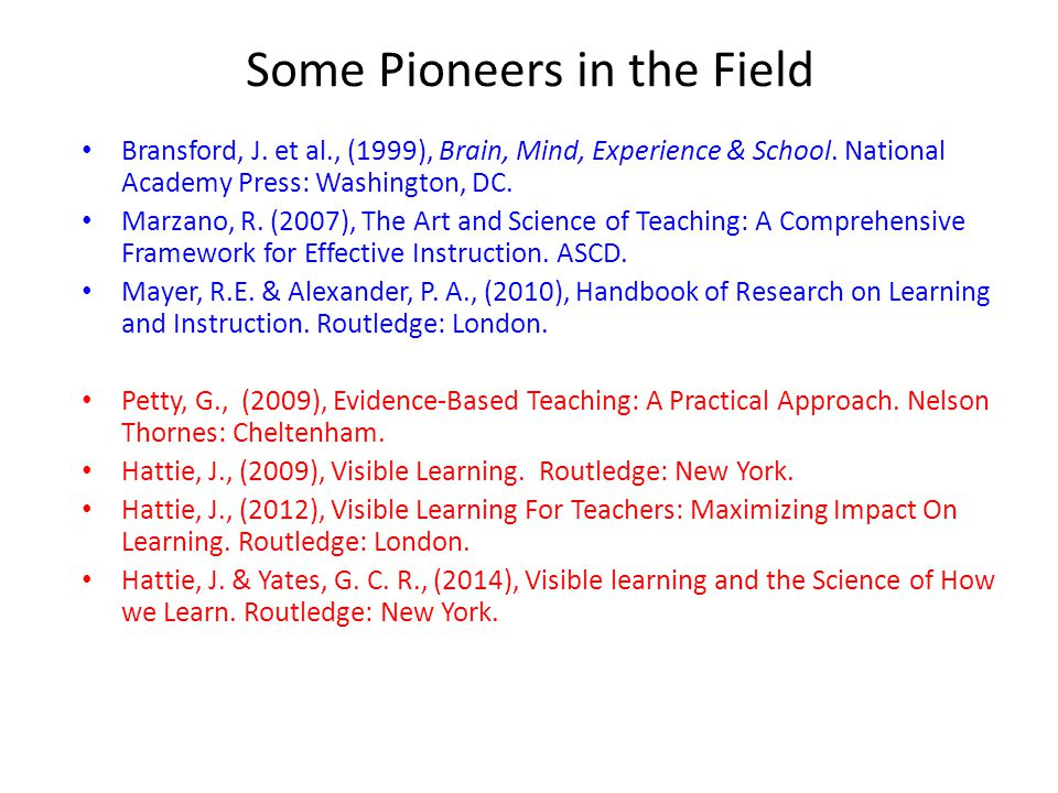 Some Pioneers in the Field Bransford, J.et al., (1999), Brain, Mind, Experience & School.