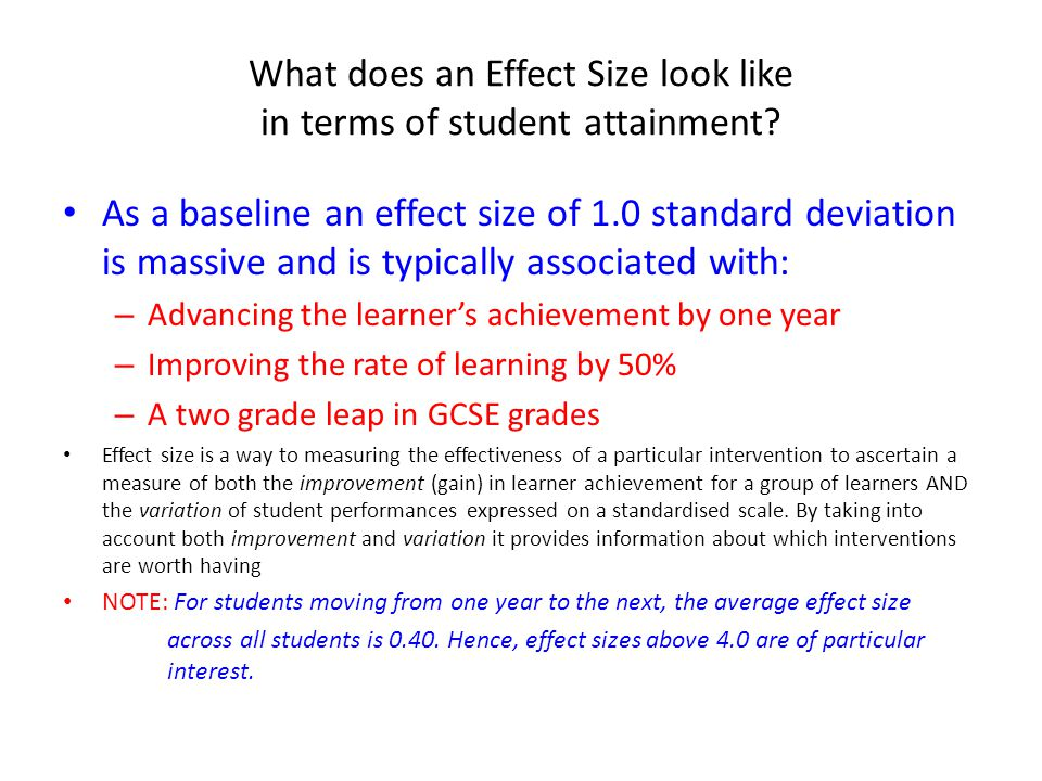 What does an Effect Size look like in terms of student attainment.
