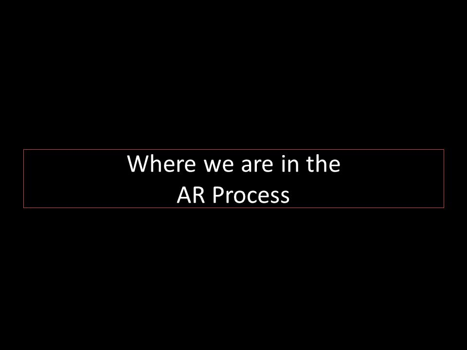 Where we are in the AR Process