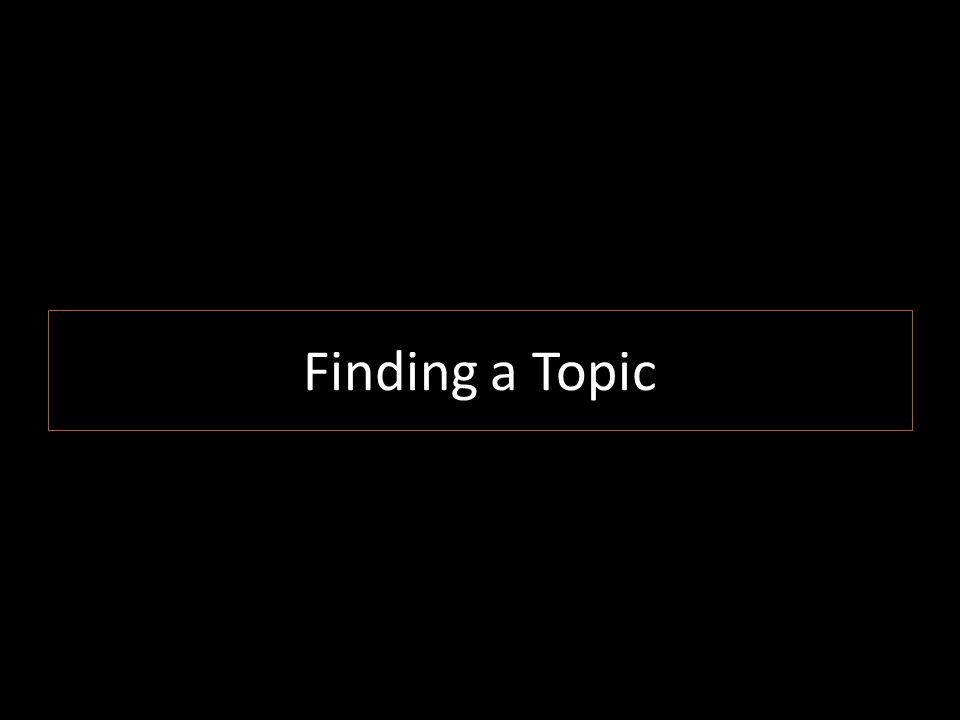 Finding a Topic