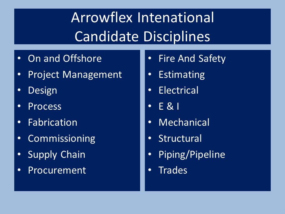 Arrowflex Intenational Candidate Disciplines On and Offshore Project Management Design Process Fabrication Commissioning Supply Chain Procurement Fire And Safety Estimating Electrical E & I Mechanical Structural Piping/Pipeline Trades