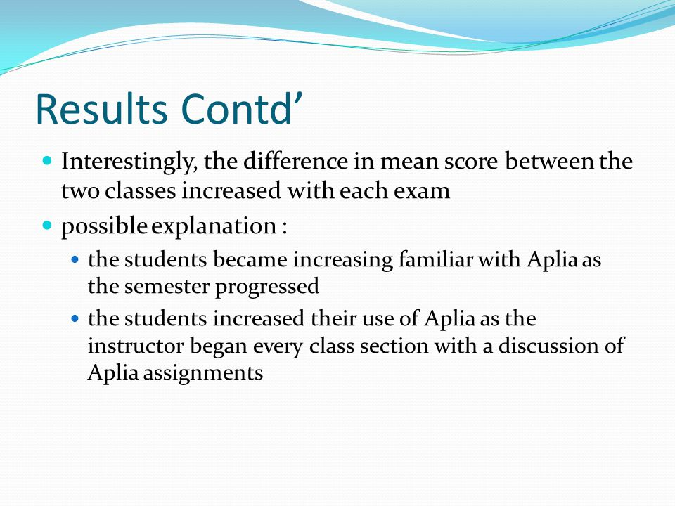 Results Contd' Interestingly, the difference in mean score between the two classes increased with each exam possible explanation : the students became increasing familiar with Aplia as the semester progressed the students increased their use of Aplia as the instructor began every class section with a discussion of Aplia assignments