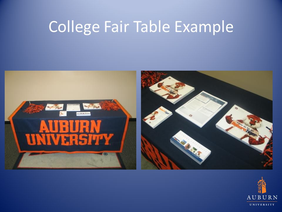 College Fair Table Example