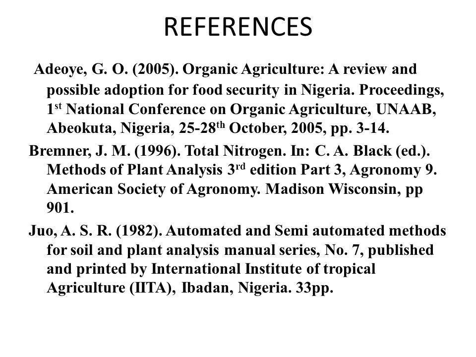 REFERENCES Adeoye, G.O. (2005).