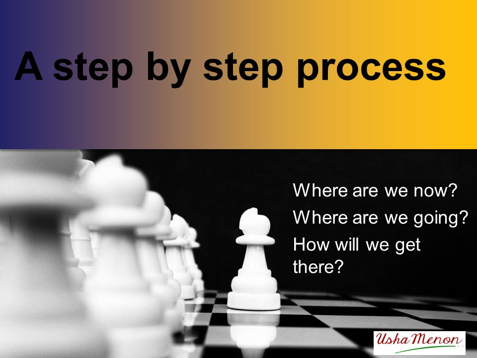 A step by step process Where are we now? Where are we going? How will we get there?