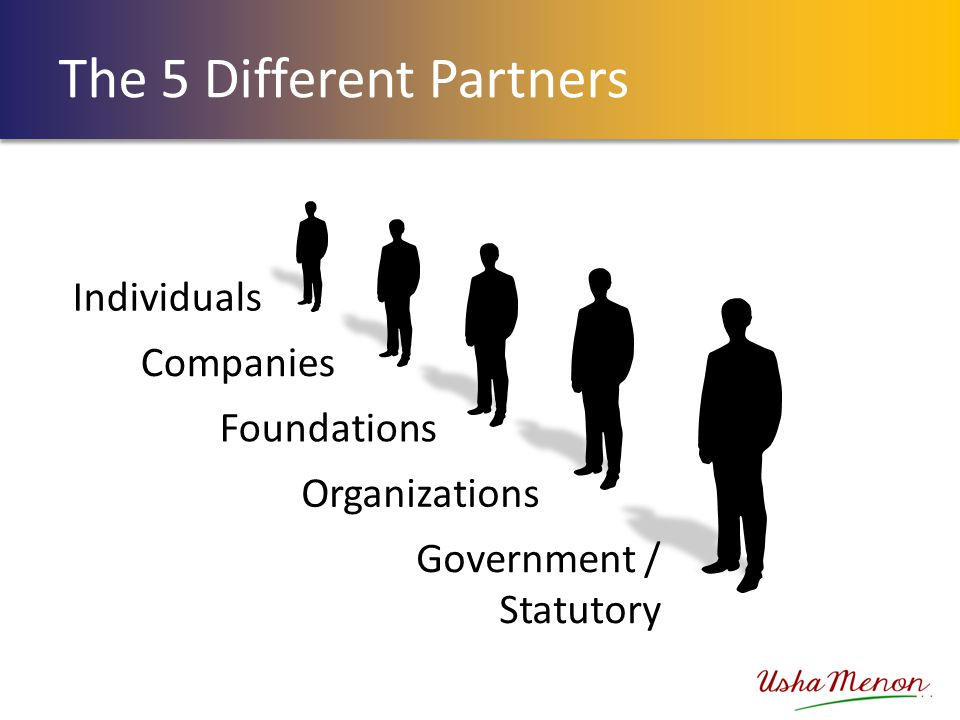 The 5 Different Partners Individuals Companies Foundations Government / Statutory Organizations