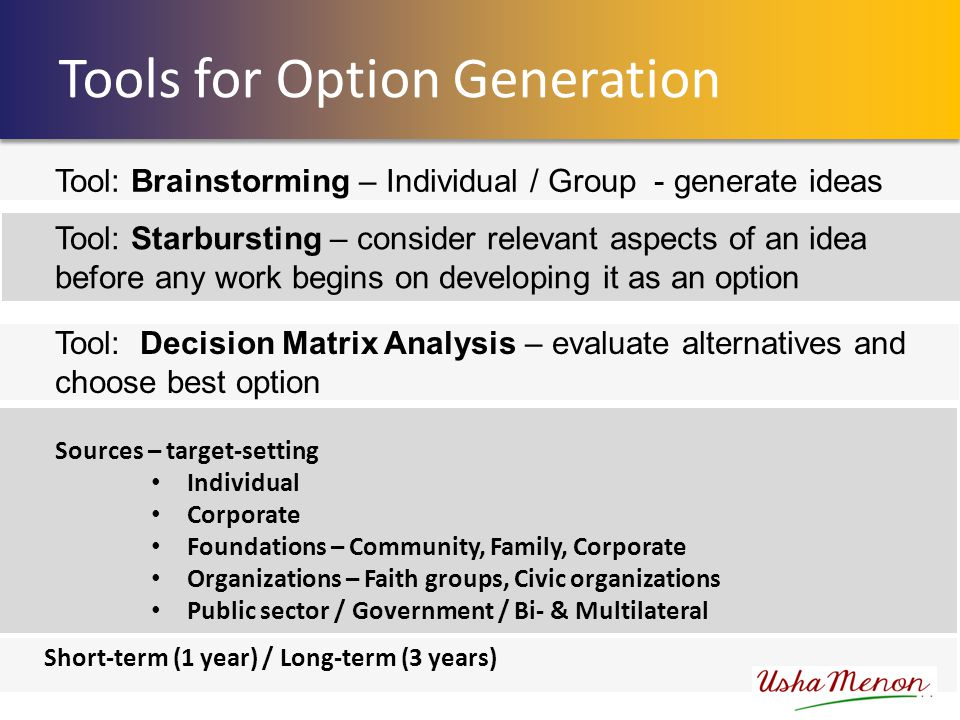 Tools for Option Generation Short-term (1 year) / Long-term (3 years) Sources – target-setting Individual Corporate Foundations – Community, Family, Corporate Organizations – Faith groups, Civic organizations Public sector / Government / Bi- & Multilateral Tool: Brainstorming – Individual / Group - generate ideas Tool: Decision Matrix Analysis – evaluate alternatives and choose best option Tool: Starbursting – consider relevant aspects of an idea before any work begins on developing it as an option