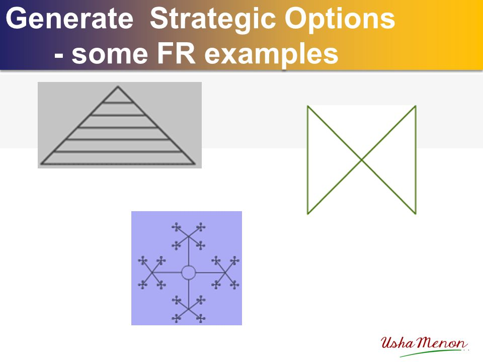 Generate Strategic Options - some FR examples Generate Strategic Options - some FR examples