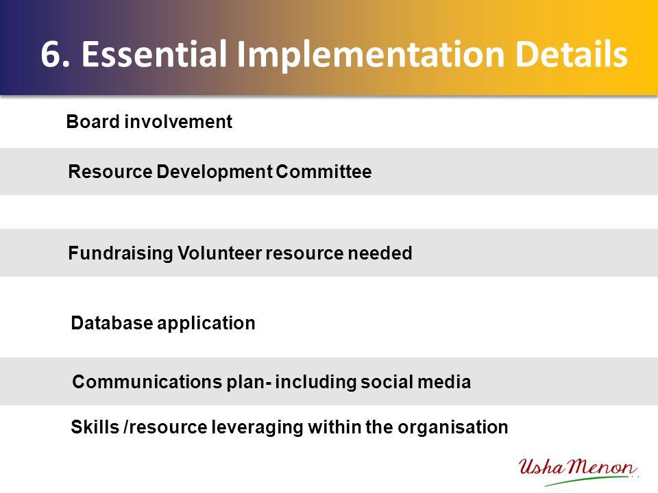 Resource Development Committee Fundraising Volunteer resource needed Communications plan- including social media 6. Essential Implementation Details B
