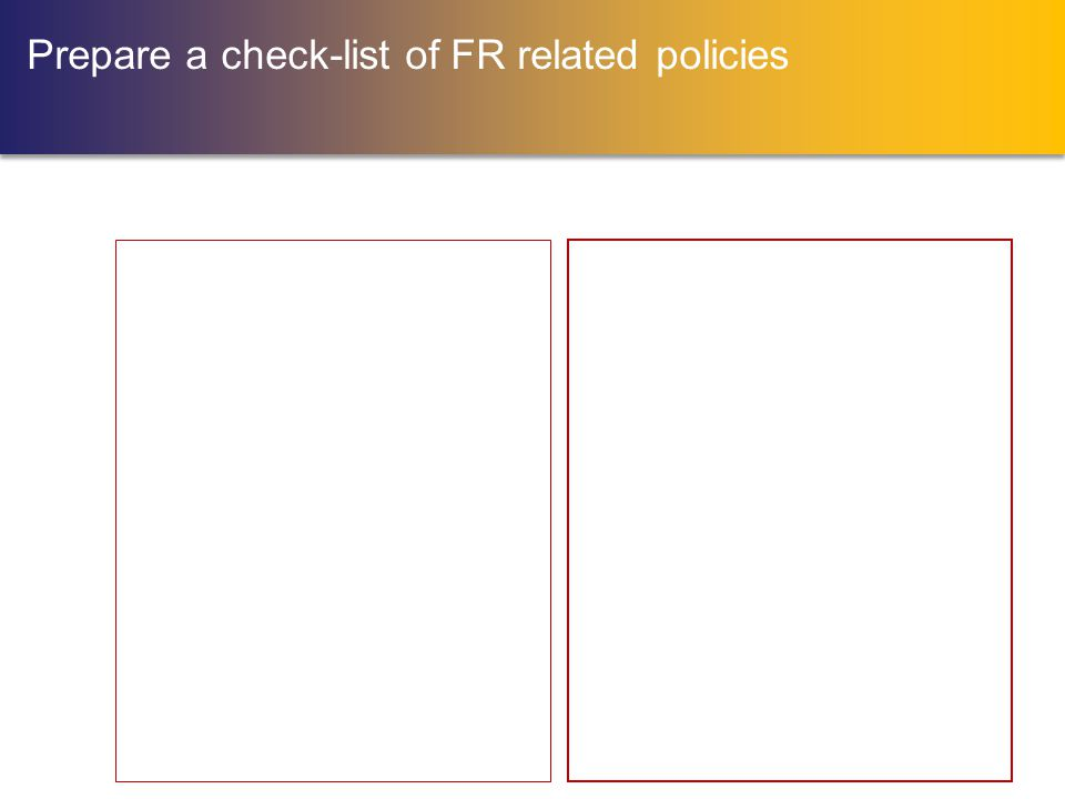 Prepare a check-list of FR related policies