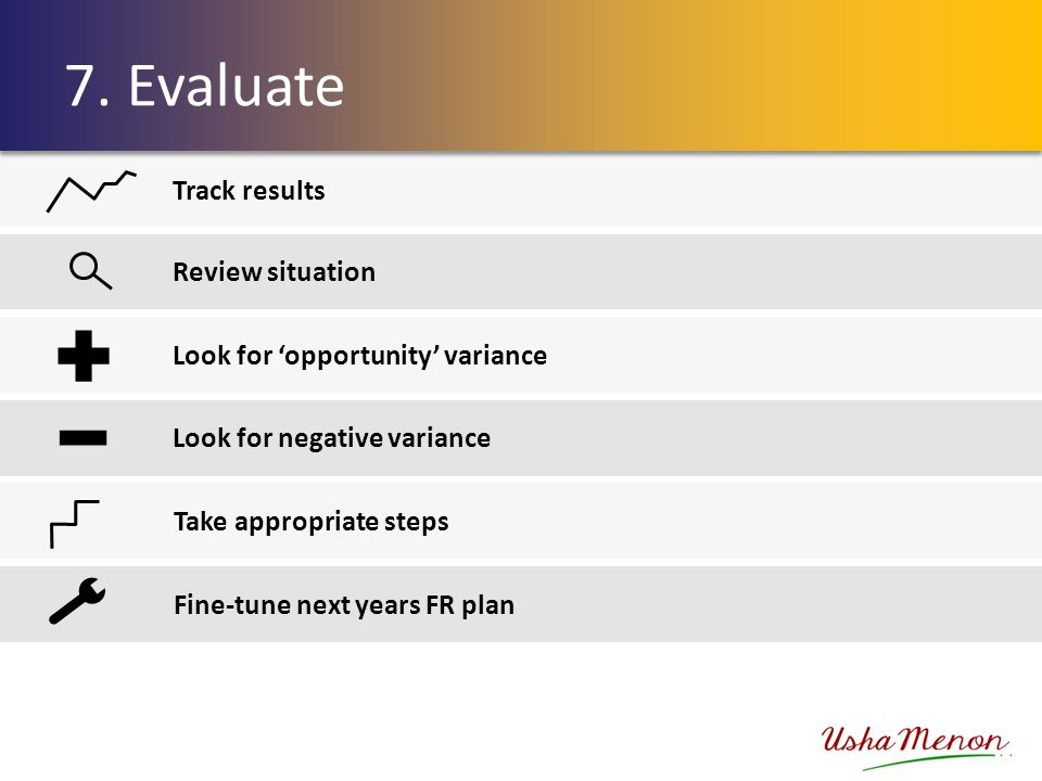 Track results Review situation Look for 'opportunity' variance Look for negative variance Take appropriate steps Fine-tune next years FR plan 7. Evalu