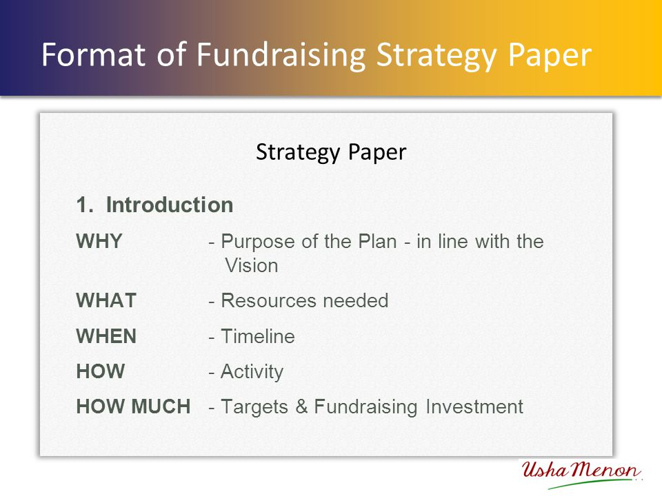 Format of Fundraising Strategy Paper 1.
