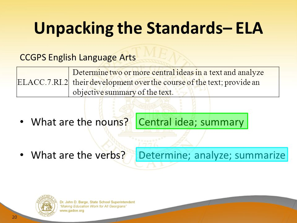 Unpacking the Standards– ELA CCGPS English Language Arts 20 What are the nouns?Central idea; summary What are the verbs?Determine; analyze; summarize