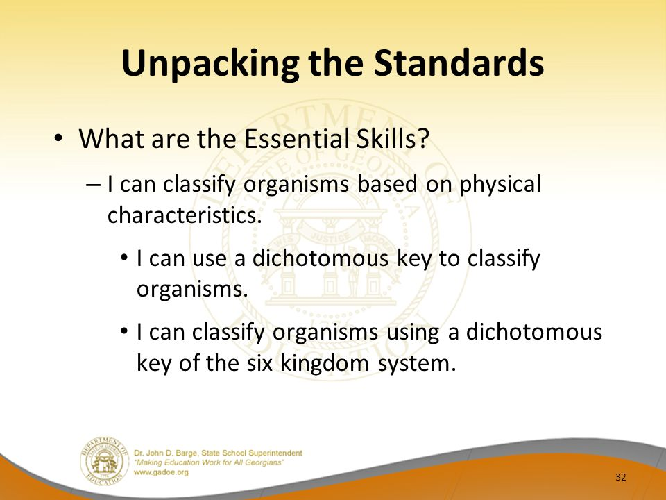 Unpacking the Standards What are the Essential Skills? – I can classify organisms based on physical characteristics. I can use a dichotomous key to cl