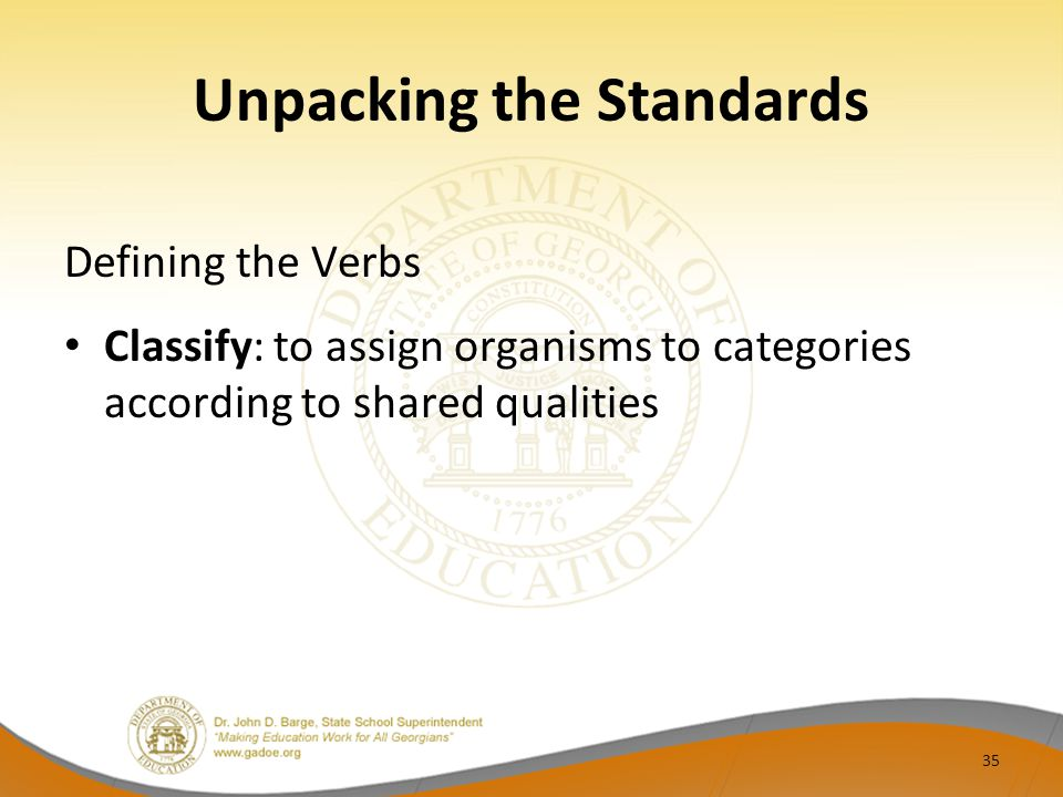 Unpacking the Standards Defining the Verbs Classify: to assign organisms to categories according to shared qualities 35