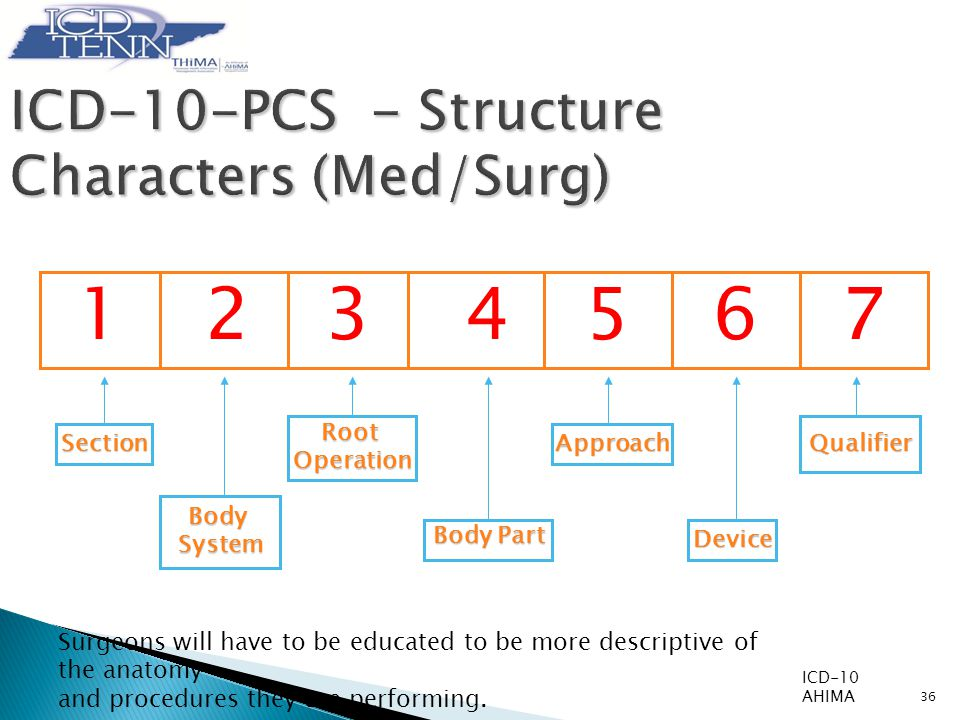 123 4567 BodySystem Section RootOperation Body Part Approach Device Qualifier 36 ICD-10-PCS - Structure Characters (Med/Surg) ICD-10 AHIMA Surgeons will have to be educated to be more descriptive of the anatomy and procedures they are performing.