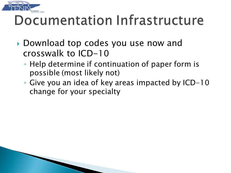  Download top codes you use now and crosswalk to ICD-10 ◦ Help determine if continuation of paper form is possible (most likely not) ◦ Give you an idea of key areas impacted by ICD-10 change for your specialty