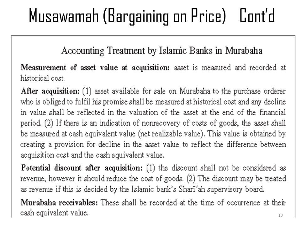 Musawamah (Bargaining on Price)Cont'd Murabaha & Musawamah 12