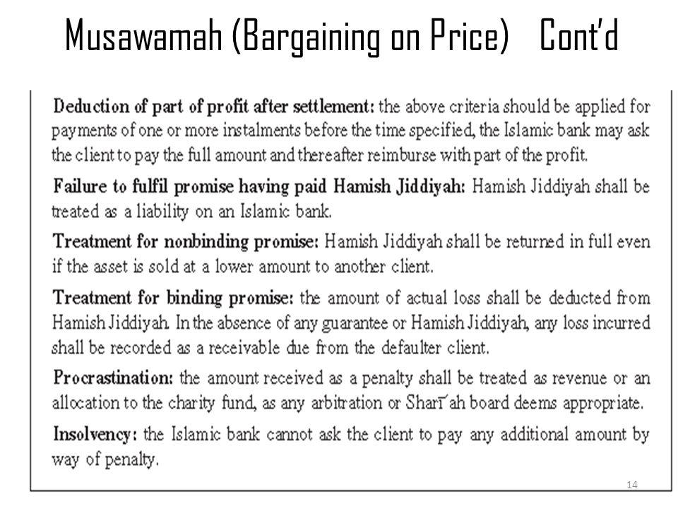 Musawamah (Bargaining on Price)Cont'd Murabaha & Musawamah 14