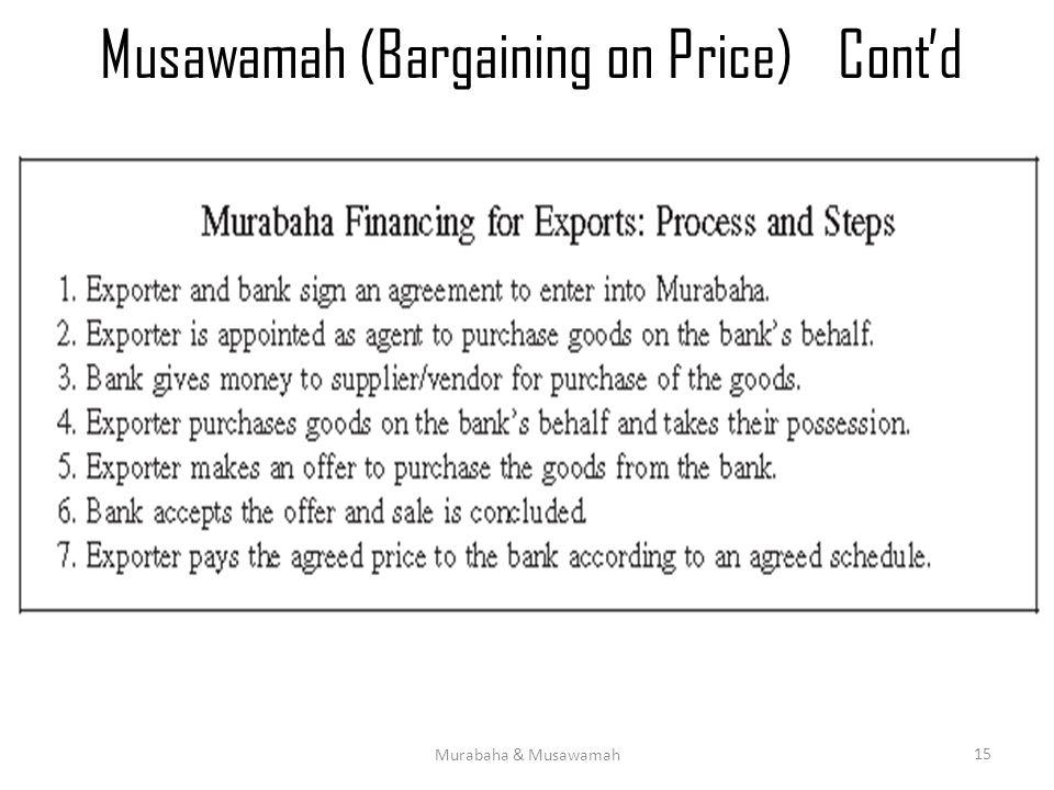 Musawamah (Bargaining on Price)Cont'd Murabaha & Musawamah 15