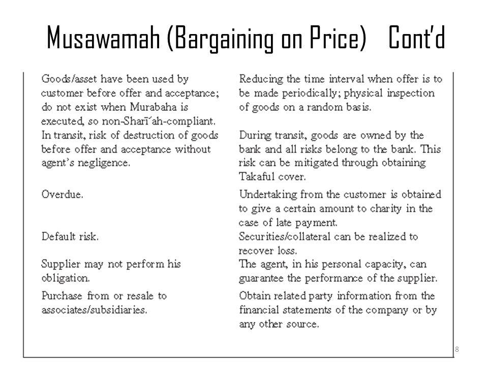 Musawamah (Bargaining on Price)Cont'd Murabaha & Musawamah 8