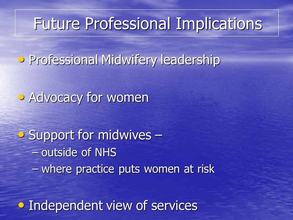 Future Professional Implications Future Professional Implications Professional Midwifery leadership Professional Midwifery leadership Advocacy for wom