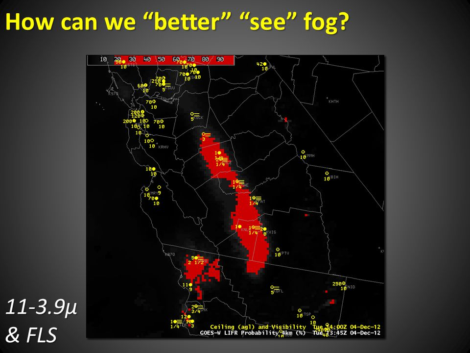 How can we better see fog 11-3.9µ & FLS