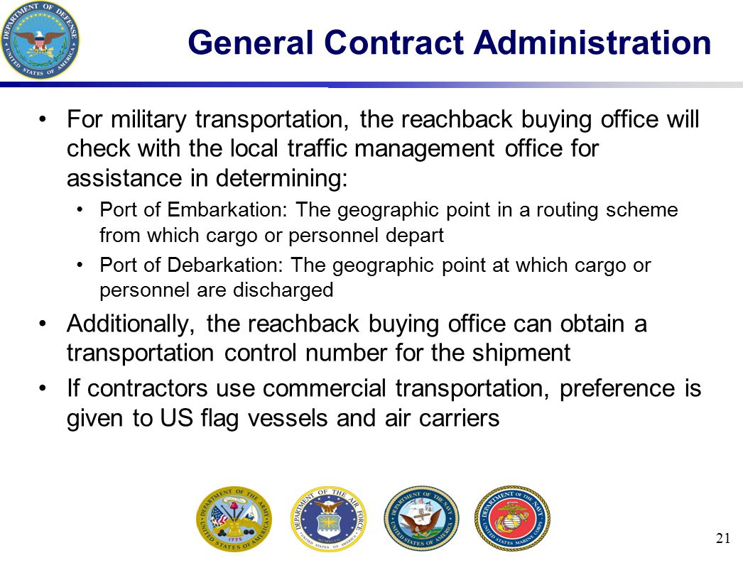 For military transportation, the reachback buying office will check with the local traffic management office for assistance in determining: Port of Em