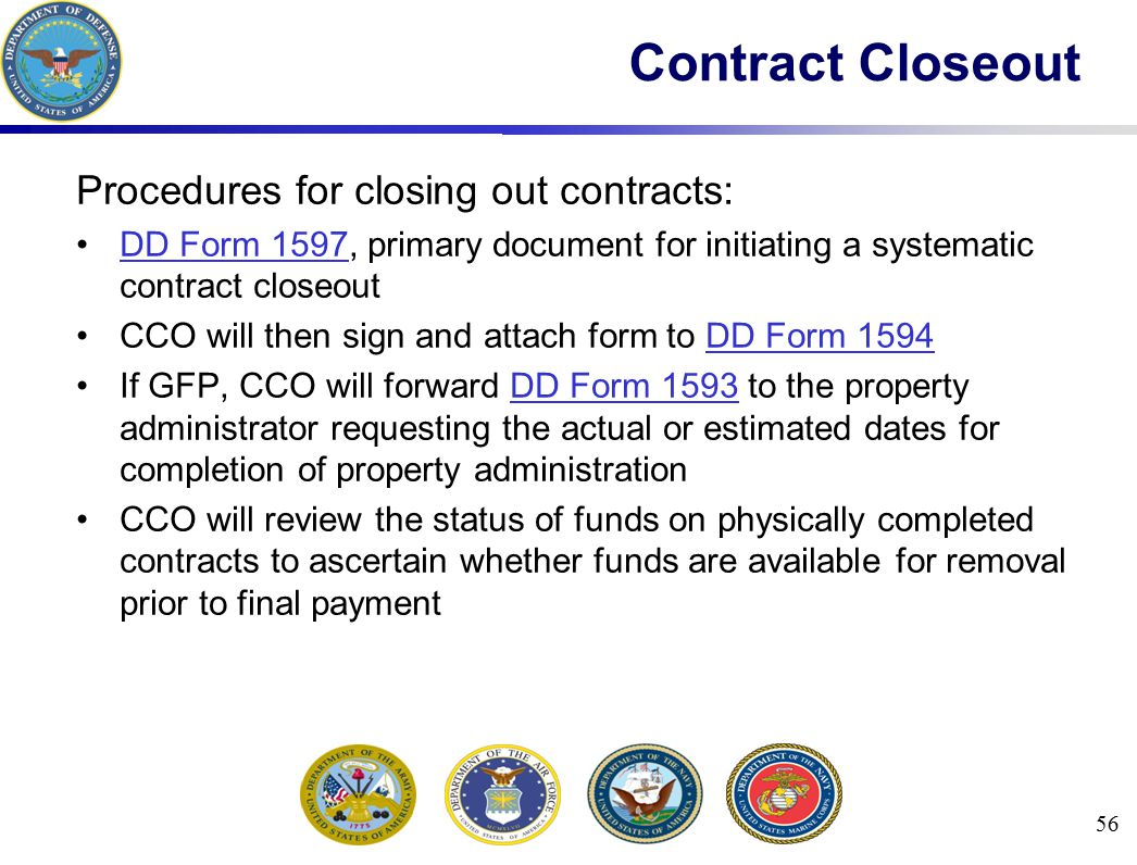 Procedures for closing out contracts: DD Form 1597, primary document for initiating a systematic contract closeoutDD Form 1597 CCO will then sign and
