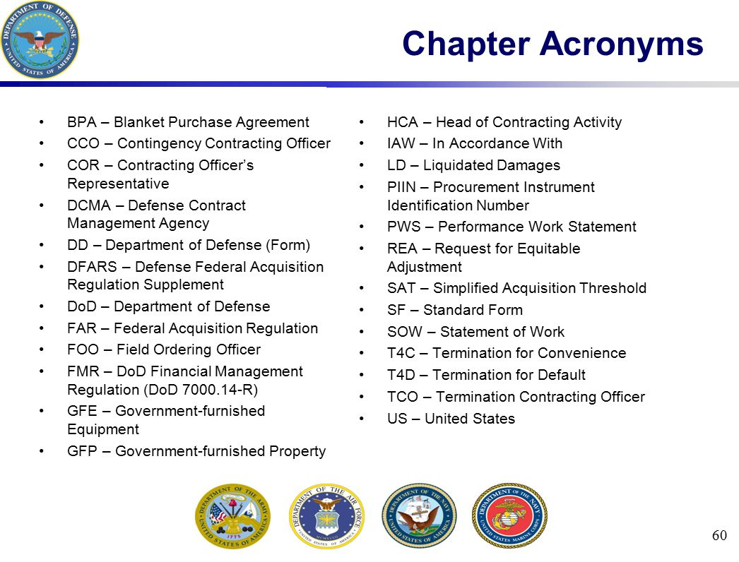Chapter Acronyms BPA – Blanket Purchase Agreement CCO – Contingency Contracting Officer COR – Contracting Officer's Representative DCMA – Defense Cont