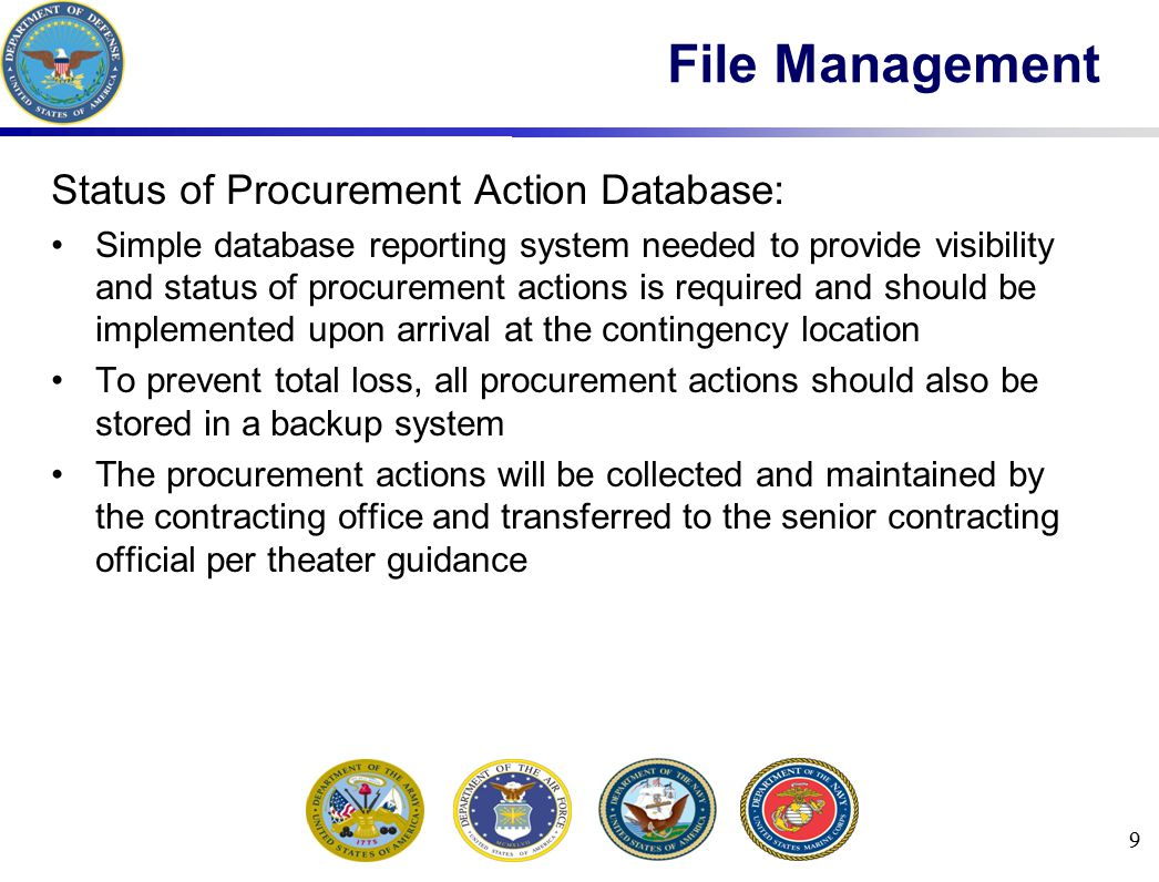 Termination for Default (T4D) Contractor fails to perform as required CCO may begin reprocurement under a new contract General procedures for T4D (these items are not necessarily performed in the exact sequence listed): Reference default clause FAR 52.249-8 or 52.249-10FAR 52.249-852.249-10 Issue a cure notice, with a minimum of 10 days, FAR 49.607 for formatFAR 49.607 After 10 days, issue a show cause notice, FAR 49.607 for formatFAR 49.607 Engineer to verify extent of completion and provide estimated value of the completed work Consult with the HCA prior to issuing modification Report on the steps taken in accordance FAR 42.1503(f)FAR 42.1503(f) 50 Terminations