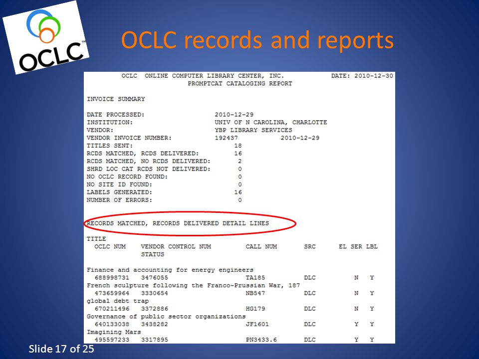 Slide 17 of 25 OCLC records and reports