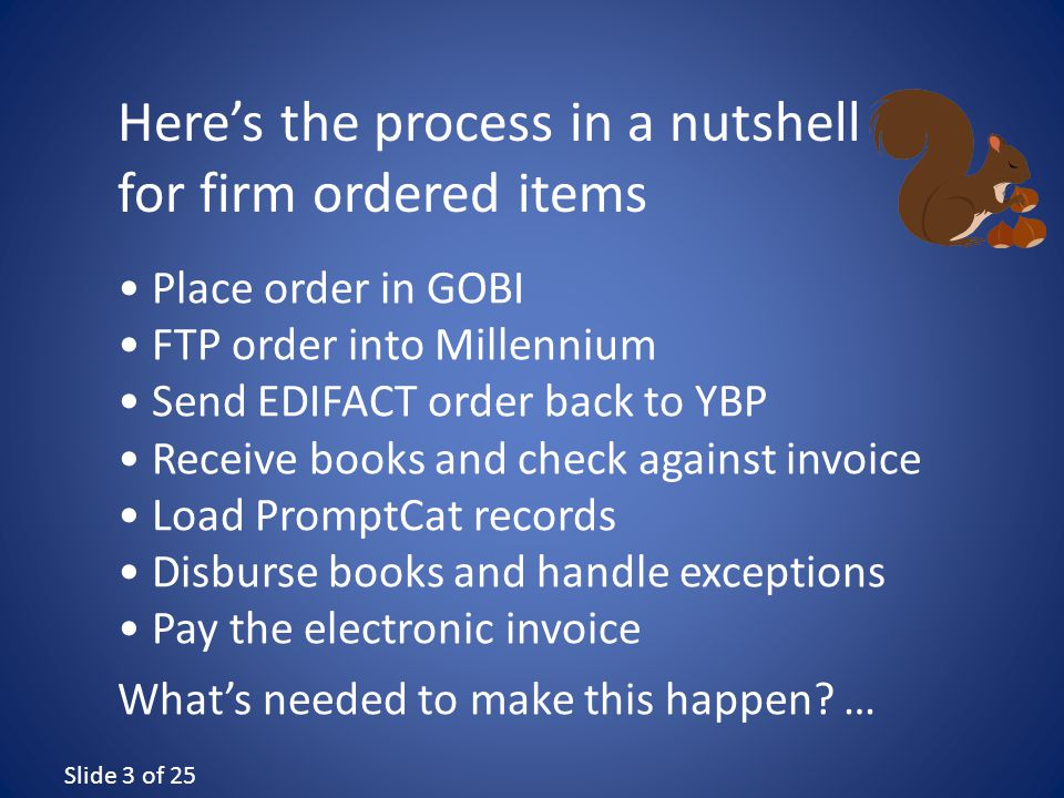 Slide 3 of 25 Place order in GOBI FTP order into Millennium Send EDIFACT order back to YBP Receive books and check against invoice Load PromptCat records Disburse books and handle exceptions Pay the electronic invoice What's needed to make this happen.