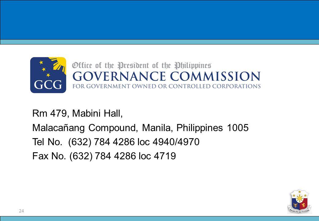 24 Slide Title Rm 479, Mabini Hall, Malacañang Compound, Manila, Philippines 1005 Tel No. (632) 784 4286 loc 4940/4970 Fax No. (632) 784 4286 loc 4719