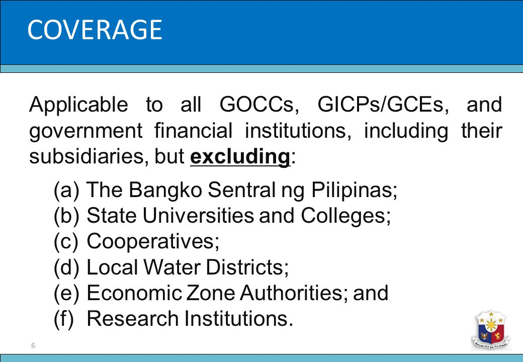 7 Slide Title THRUSTS OF THE NEW PARADIGM 1.Directors and Officers of GOCCs as fiduciaries of the State 2.Standard of Extraordinary Diligence 3.One (1) Year Term; with Holdover 4.Clear accountability of the CEO/Management to the Governing Board 5.Uniform Compensation System for all GOCCs 6.Power to Restructure the GOCC Sector