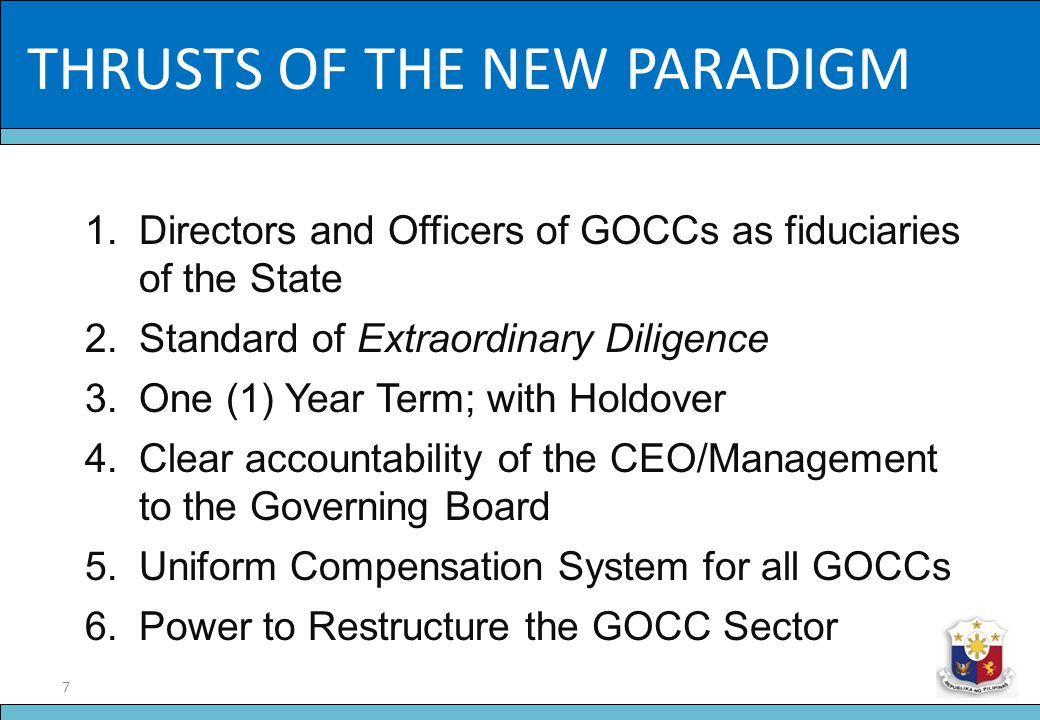 18 Slide Title ORGANIC DOCUMENTS 2.Code of Corporate Governance for GOCCs a.The Role and Responsibilities of the Governing Boards, and the Individual Directors; b.Disclosure and transparency requirements; c.Code of Ethics of Directors and Officers; d.Creation of Board committees and similar oversight bodies; e.Providing for an Integrated Corporate Reporting System; and f.CSR Statement and the Role of Stakeholders.