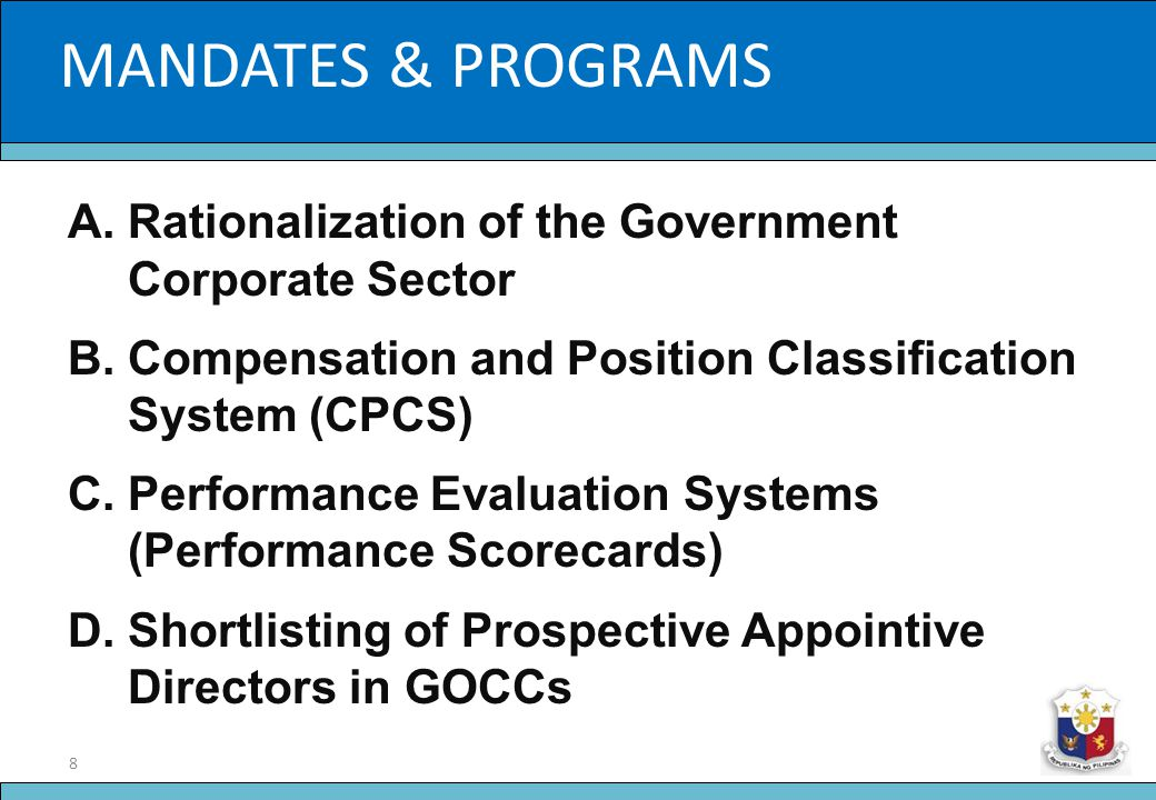 19 Slide Title ORGANIC DOCUMENTS 3.Fit and Proper Rule a.Primary mechanism through which the Commission ensures the integrity and competence of Directors/Trustees of GOCC Boards b.Codification of tried and tested standards already implemented by other agencies, with the qualification that the highest standard shall apply in the event more than one apply in a given situation
