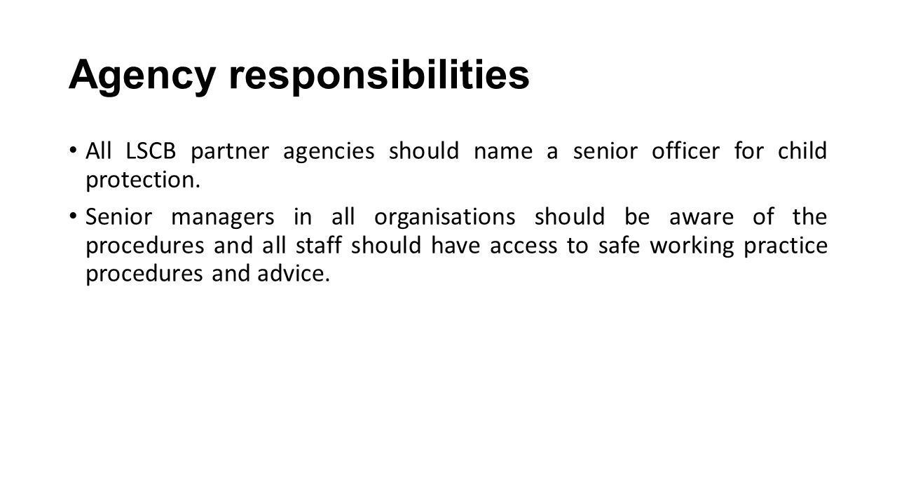 LADO key roles and responsibilities Provide advice/guidance to employers and voluntary agencies Liaise with police and other agencies including Ofsted and professional bodies.