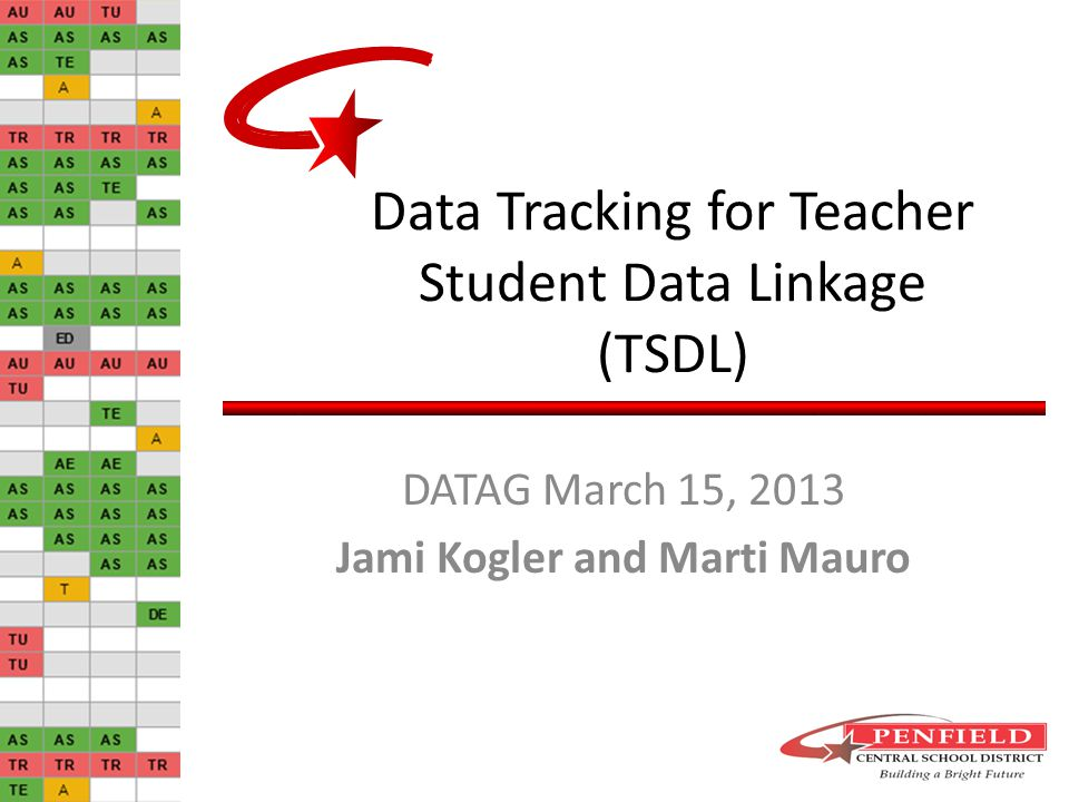 Data Tracking for Teacher Student Data Linkage (TSDL) DATAG March 15, 2013 Jami Kogler and Marti Mauro