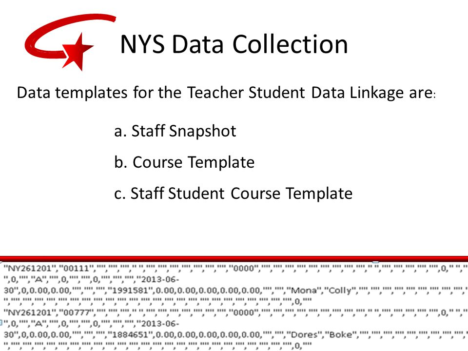 NYS Data Collection Data templates for the Teacher Student Data Linkage are : a.