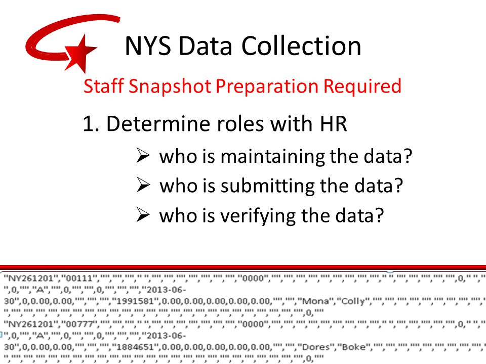 NYS Data Collection Staff Snapshot Preparation Required 1.